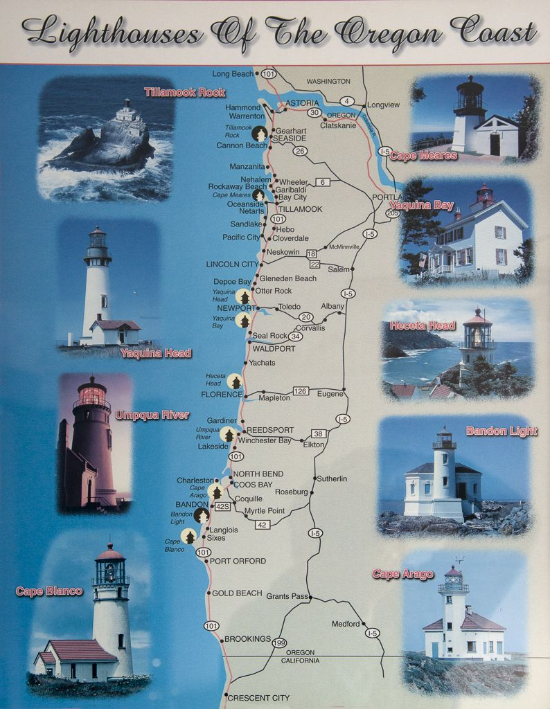 Pics Photos  Oregon Coast Lighthouse Map